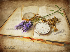 Still-life (Kerstin Frank art) Tags: texture clock photoshop lavender books oldbooks oldclock