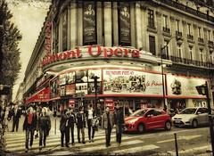 a street in paris (PhotoArt Images (catching up)!) Tags: street paris explore redcar selectivecolor thearte parisstreetscene gaumontopera photoartimages