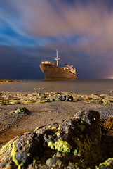 The Ghost Ship (MarkE_T) Tags: shipwreck wreck ghostship lanzarote canaryislands beach night 30secondexposure pentaxk10d smcpentaxda1645mmf4edal longexposure milkywater