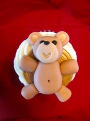 Teddy Bear (zoeycakes) Tags: bluesuedeshoes heartbreakhotel bluechristmas elvisjacket elviscupcakes fatelviscupcake heartbreakhotelcupcake