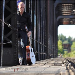 Photoshoot for French songwriter-singer Jeremy Laborde (Chantal Fournier (Bayan Paparazzi)) Tags: wood bridge summer musician music man metal outside alone sitting hand guitar outdoor ottawa perspective rail sunny solo coveredbridge strings guitarist guitarplayer guitare contempling jeremylaborde
