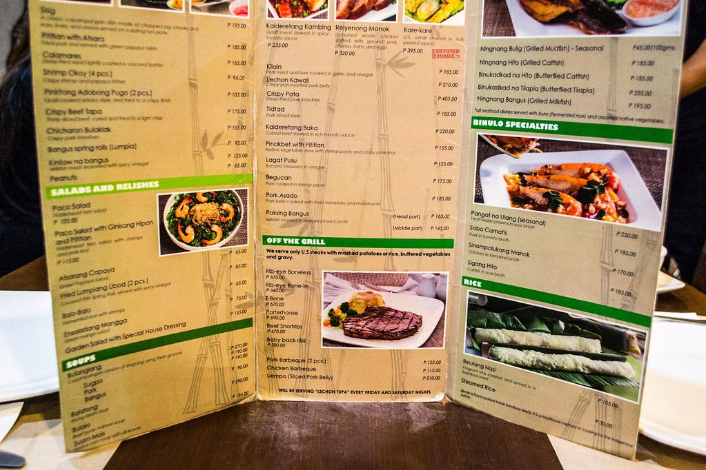 Binulo Restaurant Menu in Pampanga