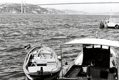 Kuzguncuk (JosephK1976) Tags: bridge sea bw film landscape 50mm nikon istanbul ilford nikonfe2