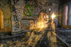 Basement Window (mikeSF_) Tags: california morning camp urban sun hot mike sunrise landscape photography hotel pentax decay basement tracy springs rays dust byron limited hdr rebar rubble k5 oria photomatix da15 httpmikeoriazenfoliocom