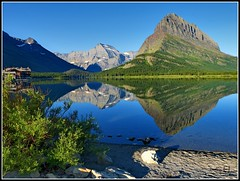 Mirrored mountains (Suzanham) Tags: lake mountains nature reflections montana lakes glaciernationalpark waterscape swiftcurrentlake thegalaxy intouchwithnature fantasticnature absolutelyperrrfect