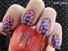 Melt Nails + Po (Nail Glam) Tags: pink blue baby art azul dark arte nail salmon bored rosa excited shy bolas polkadots nails melt bola nailpolish flirty polkadot marinho bolinha artsticas unha esmalte salmao derretida po