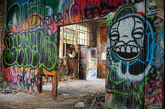 La sortie de l'usine (monilague) Tags: abandoned buildings graffiti factory montral montreal couleur usine solor abandonn dsaect
