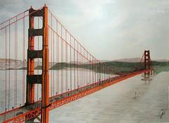 Golden Gate (Kikuyo (Mamechiho-fan)) Tags: colour art pencil golden bay gate san francisco drawing colored coloured