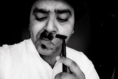 329/365. When Men Shave After A Long Time. (Anant N S (www.thelensor.tumblr.com)) Tags: portrait blackandwhite bw india selfportrait blackwhite nikon funny hitler moustache portraiture shaving blade 1855 nikkor pune razor funnypicture project365 nikond3000 lensor anantns thelensor anantnathsharma indianmalefunny whenmenshaveafteralongtime