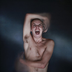 Transfiguration. (David Talley) Tags: blue selfportrait motion david texture wall self hair buzz moving pain movement hands energy head shaved move scream screaming buzzed painful transfiguration talley davidtalley texturebylesbrumes