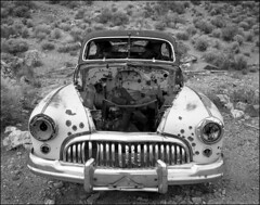 Death Valley Buick (NoJuan) Tags: road bw abandoned mediumformat point blackwhite buick rusty rusted deathvalley pentax6x7 explored aguerreberry tmy120