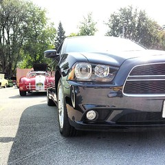 My Charger & a sexy Cobra. I love car shows! (Snapshots by Nixy J Morales) Tags: sexy sedan square cobra squareformat normal coupe charger carshow musclecar iphoneography instagramapp uploaded:by=instagram foursquare:venue=4bc9df6ccc8cd13ae84fbccf