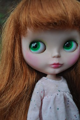 Sealed August's Faceup (Lawdeda ) Tags: original green vintage doll soft dress little august cutie redhead kenner blythe eyeshadow 1972 kb chunky banged faceup lawdeda