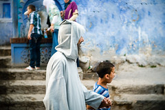 Chefchaouen - Bad Timing (aminefassi) Tags: africa street city blue portrait copyright color colour fountain azul candid culture arabic panasonic morocco maroc getty medina chaouen pancake arabian tradition chefchaouen fontaine marokko moroccan 2012 rif  photographe mft djellaba marocain xauen morokko  marueccos chefchaouene microfourthirds 20mmf17 dmcgx1 aminefassi xexauen