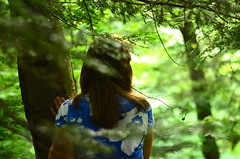 Guiding You Home (Rachel.Rosemarie) Tags: flowers blue ohio usa brown sun detail tree green art nature girl leaves shirt pine forest hair outside person photography leaf nice nikon focus glow hand arms body branches pinetrees sap searching d5100 nikond5100