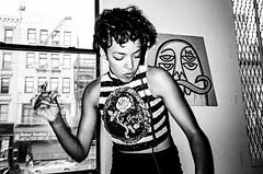 Kissey. Manhattan (velocityzen) Tags: street blackandwhite bw musician music newyork film fashion dj kodak iso400 28mm bandw ricoh f28 gr1v ricohgr1v kodak400tmax lensculture filmaintdead vfiles