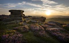 Sunset in the Peak District (Keartona) Tags: overowlertor hathersage moor derbyshire peakdistrict rocks tor heather colourful landscape rugged sunlight sun sky england english countryside beautiful evening sunset