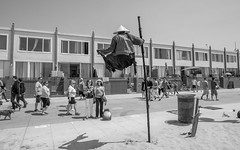 The Floating Man: Venice Beach (jimsheaffer) Tags: venicebeach venice california tourist tourism blackandwhite boardwalk nikond750 nikkor1835mmf3545gedlens nikkor1835mmlens streetphotography floatingman hindu buddha buddhism levitate levitation floating flying hovering hover