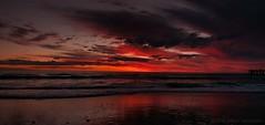 Glenelg Beach, Sunset, 30th August, 2013, 6:06pm (SeeminglySane) Tags: sunset sunsets beach ocean water glenelg adelaide southaustralia australia red waves