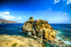 Lost in time ... (NikosPesma) Tags: castle keep medieval rock sea clouds water blue outdoor landscape andros island cyclades aegean greece                        hdr       stone bridge arch
