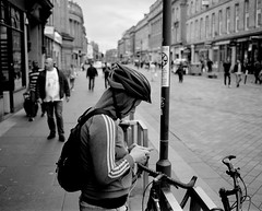 Sorting Out His Music - Newcastle (Richard James Palmer) Tags: mamiya7ii mamiya 7ii 80mm ilford hp5 ilfordmicrophen microphen ishootfilm shoot film iso 400 iso400 ilfordhp5 f4 newcastle northeast north east street photography streetphotography portrait black white rangefinder medium format 120 filmisnotdead analogue documentary epsonperfectionv700 epson v700 1125 newcastleupontyne upon tyne tyneandwear northern uk england urban melancholy art fineart new overcast isolated walkabout 2016 gritty gloomy abstract trapped blackandwhite monochrome