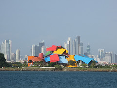Biomuseo and Panama City skyline from mouth of Panama Canal (Paul McClure DC) Tags: panama panamacity panamacanal centralamerica dec2015 scenery frankgehry architecture modern
