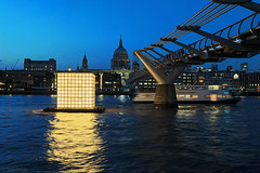 Floating Dreams (Tedz Duran) Tags: outdoor waterfront water architecture bridge tedzduran london england uk unitedkingdom eu europe blue hour twilight bluehour city cityscape river thames ikjoong kang art artwork millennium stpauls cathedral floating dreams night photography ferry boat surf wave tide lights urban travel