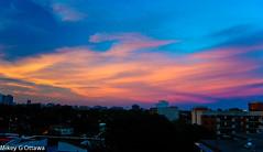 Balcony Sunset # 731 -   Ottawa 08 16 (Mikey G Ottawa) Tags: mikeygottawa canada ontario ottawa city skyline sunset balcony view outlook colour color farbe couleur iso450 grainy nikond40 adobelightroom edit blue purple magenta aqua