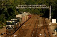 NS 112 on the BNSF (Jeff Carlson_82) Tags: ns 112 ge c449w 9736 kansas kansascity ks argentine signal aytower transcon prefab prisoncells bnsf burlingtonnorthernsantafe emporiasub train railroad railfan railway
