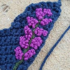 Detail of bright orchid French knots (crochetbug13) Tags: crochet crocheted crocheting crazyquilt crazy quilt 2016 northcarolina statefair embroider blanketstitch embroidery embroidered bullion frenchknot knot multicolor flower flowers