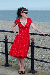 Kitty - DSC_0065 (John Hickey - fotosbyjohnh) Tags: 2016 bray modelshoot september2016 femalemodel lady female person seaside brayprom reddress nikon nikond5100