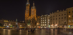 Old Town Square by night (stevefge) Tags: krakow poland oldtown squares night churches street reflectyourworld