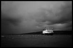 Wemyss Bay, Ferry (Mark Maden) Tags: clyde largs weymms bay caledonian macbrayne ferry choppy rain scotland firth river black white monochrome