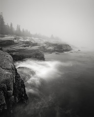 Off The Shelf (Nate Parker Photography) Tags: ocean blackandwhite seascape barharbormaine mainecoast oceandrive acadianationalpark haveaniceday coastofmaine mainephotography mainefog fogart schoonerheadroad fogimages blackandwhiteacadia nateparkerphotography mainefineartphotography finaartmaine schoonerheadroadfog