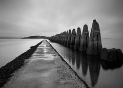 THE PARTING OF THE SEA (B/W) (kenny barker) Tags: longexposure bw reflection monochrome landscape landscapeuk olympusep1 welcomeuk kennybarker