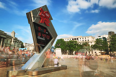 20120817_F0001: London 2012 Olympics and Paralympics countdown clock at Trafalgar square (wfxue) Tags: longexposure people london clock square logo photography time omega trafalgar trafalgarsquare tourists date olympics countdown 2012 london2012 slowstutter