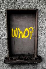 Who? (Alan Travers) Tags: street ireland streetart galway lens photography graffiti blackwhite wideangle tokina pro 116 dx atx 1116mm tokinaatx116prodx tokinaatx116prodx1116mmf28 canon550d