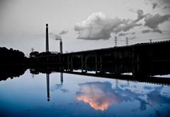 reflections (leehaze) Tags: bridge sky bw plant clouds canon landscape evening mark smoke iii stack 5d dslr