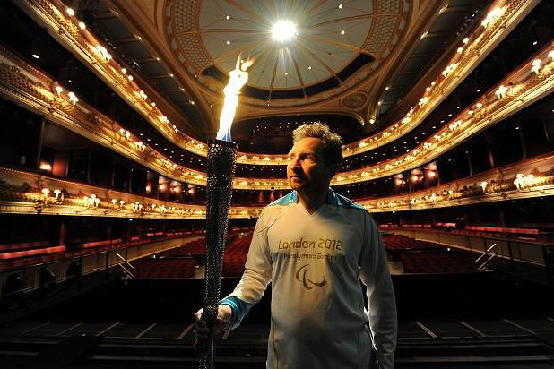 Eddie Marsan at the Royal Opera House with the Paralympic flame © Evening Standard