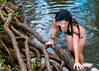 Getting Out (lunkerbuster808) Tags: mountains nature water girl swimming outdoors stream bikini kauai eastside
