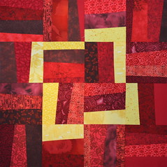 Block for Linda 1 (jenjohnston) Tags: red yellow wonky quiltblock quiltingbee