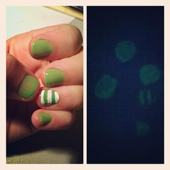 Glow-in-the-dark nails are pretty much awesome. #nails #glow #instacollage (laurenichole89) Tags: green art beauty painting square creativity design diy paint acrylic glow stripes style sierra nails glowinthedark squareformat designs nailpolish tutorial acrylicpaint whitestripes nailart clearcoat youtube topcoat twocoats naildesigns artisticselfexpression iphoneography accentnail pinterest instagramapp uploaded:by=instagram paintdries