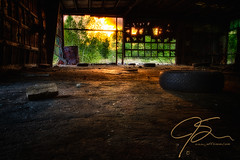 "JSinon_Week 35: ""Looking Out"" From The Decay. (jsinon) Tags: usa sunlight brick abandoned moody gloomy decay garage newhampshire tire uni decline hdr dover lookingout deteriorate week35 lptg hdrefexpro2"