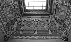 Ornate ceiling with angels and profile portraits - Louvre (Monceau) Tags: blackandwhite portraits louvre ceiling angels ornate reliefs