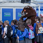The Gruffalo greets some school childre