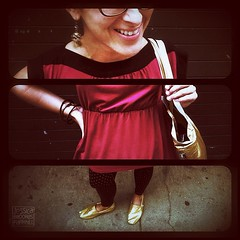 9.2.2012 (Jessica Brookes-Parkhill) Tags: smile glasses triptych polkadots bracelets reddress iphone goldshoes handonhip flickup picframe mobilephotography tomsshoes phoneography polkadottights goldbag iphone4 iphonephotography jessica365 iphoneography jessicabrookesparkhillphotography instagram kingcamera snapseed jessica365format
