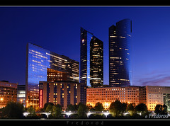 La Dfense, Paris (Fredorod) Tags: longexposure light paris tower architecture night skyscraper buildings evening nikon district ladefense business bluehour soir nuit ld lumieres arche societegenerale heurebleue pacifictower d7000 fujjii nikond7000 fredorod bistrophoto statueladefense