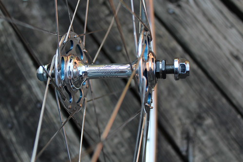Campagnolo Record hubs with the flanges painted to match the frame by Bryan Myers of Fresh Frame