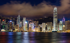 Hong Kong at Night (andreaskoeberl) Tags: china city travel reflection skyline night dark hongkong lights harbor highresolution nikon asia long exposure cityscape illuminated hong kong citylights stitched wfc avenueofstars 100megapixels nikon85f18 d7000 nikond7000 andreaskoeberl