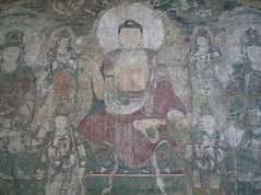 Buddha of Medicine Bhaishajyaguru, detail with Buddha on Lotus
